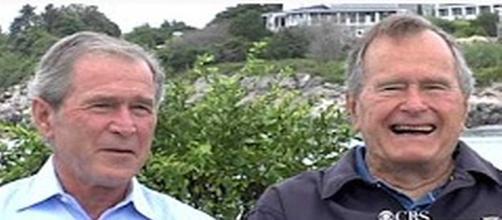 George H.W. Bush and George W. Bush [Image Source: CBS News/YouTube]