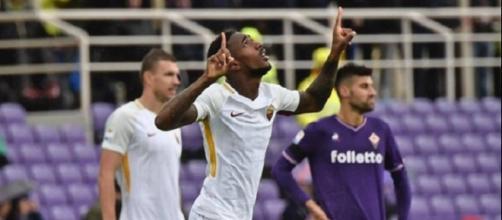 Gerson esulta dopo il gol contro la Fiorentina