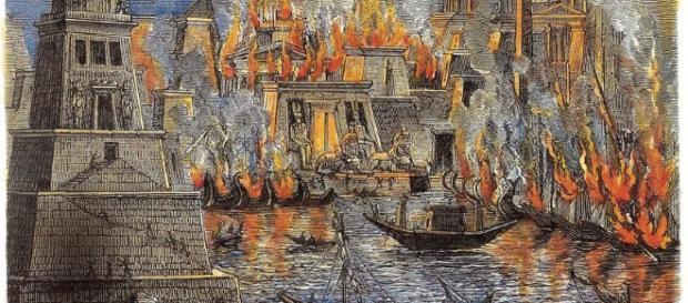 La quema de la ciudad de Alejandría durante la guerra contra los romanos