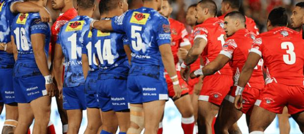 Samoa (Siva Tau) and Tonga (Sipi Tau) face each other in an incredible pre-game war 'dance-off'. Image Source: www.rlwc2017.com