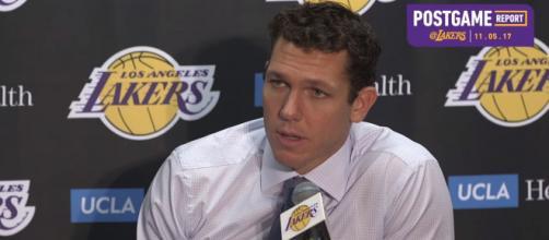Los Angeles Lakers head coach Luke Walton (via YouTube - Los Angeles Lakers)