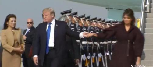 Donald Trump, Melania Trump in South Korea, via Twitter