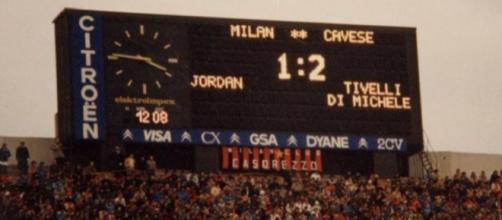 Milan-Cavese, lo storico risultato sancito dal tabellone di San Siro