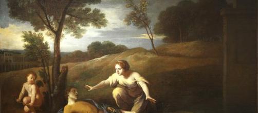 Píramo se quita la vida con su espada, al pensar que su amada había sido destrozada por una leona que regresaba de cazar.
