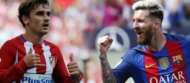 Messi y Griezmann con las camisetas de sus equipos.