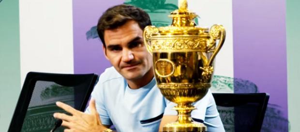 Roger Federer after winning his eighth Wimbledon title/ Photo: screenshot via Wimbledon channel on YouTube