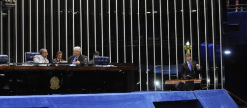 Plenário do Senado durante sessão que discutiu diversos temas, entre eles CPI da Previdência (Foto: Waldemir Barreto/Agência Senado)