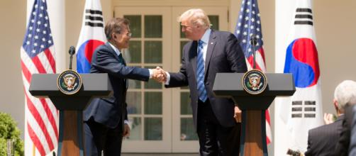 South Korean President Moon Jae-In and American President Donald Trump at the White House in June 2017. Wikimedia Commons.