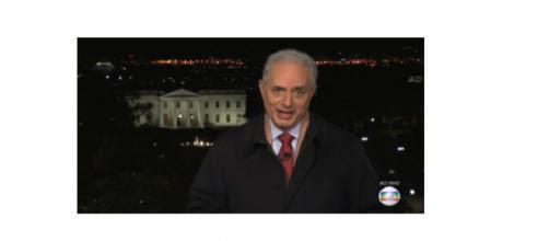 William Waack em Washington durante cobertura das eleições dos EUA 2016 (Foto: Captura de vídeo)