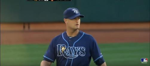 Alex Cobb pitching for the Tampa Bay Rays. - image - MLB/YouTube