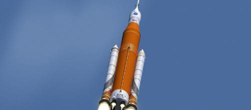The Space Launch System in flight [image courtesy NASA wikimedia commons]