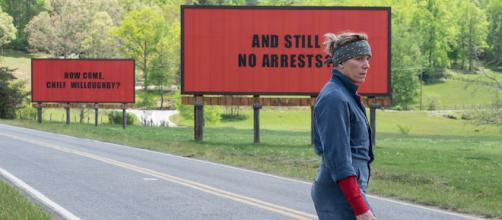 Used by permission: Frances McDormand THREE BILLBOARDS OUTSIDE EBBING, MISSOURI. Photo by Merrick Morton. © 2017 Twentieth Century Fox Film Corp