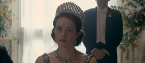 "Claire Foy returns as Queen Elizabeth II in the second season of ""The Crown."" Image via Youtube/Netflix"