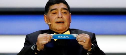 Diego Maradona during the moment England was picked to be part of Group G alongside Belgium, Panama and Tunisia. Photo: Kai Pfaffenbach/Reuters