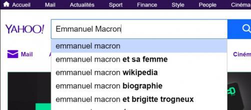 """Une recherche sur Yahoo! avec le terme """"Emmanuel Macron"""", le 1er décembre 2017"""