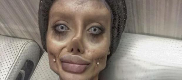 Sahar Tabar's pictures are generating controversy after the teen had 50 plastic surgeries to look like Angelina Jolie. -- [Sahar Tabar/Instagram]