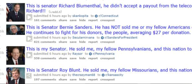 The largest ever protest in favor of net neutrality is taking place on Reddit right now. --- Reddit screenshot