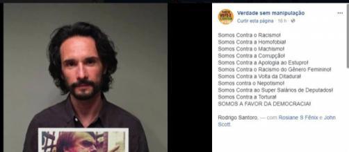 """Postagem da montagem de Rodrigo Santoro segurando placa com """"Fora Bolsonaro"""""""
