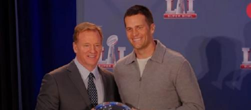 Roger Goodell hands Tom Brady the Super Bowl LI MVP trophy (Image Credit: USA TODAY Sports/YouTube)