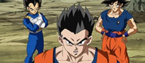 Vegeta, Goku y Gohan listos para luchar