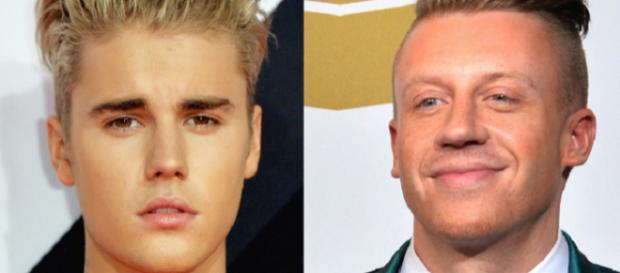 Justin Bieber (à esquerda) e o rapper Macklemore (direita)