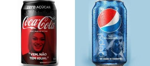 Pablo Vittar e Jair Bolsonaro em latas de refrigerante