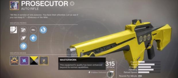 A Masterworks weapon in 'Destiny 2' - YouTube/MoreConsole