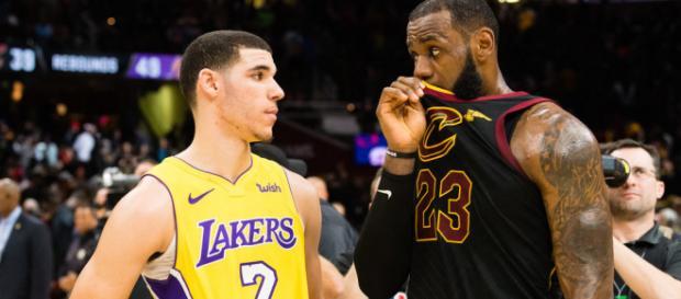 LeBron and Lonzo share a conversation - (Image: YouTube/NBA)