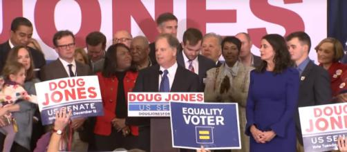 Doug Jones delivering his victory acceptance speech, Image via: [NBC News/YouTube screencap]