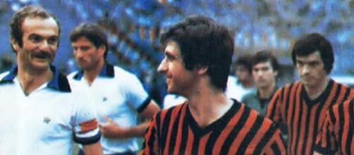 Sandro Mazzola e Gianni Rivera nella finale di Coppa Italia 1976/77