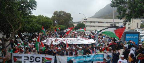 Thousands marched in Cape Town, South Africa in support of Palestinians who are angered about the new Israeli capital Pic: Fu'ad rahman