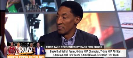 Scottie Pippen speaking on TV. - [ESPN / YouTube screencap]