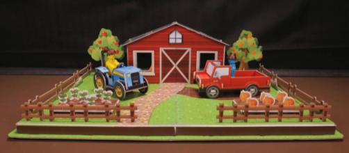 """The fully assembled """"Farm"""" set comes with a tractor, a truck, and more. / Image via Zing, used with permission."""