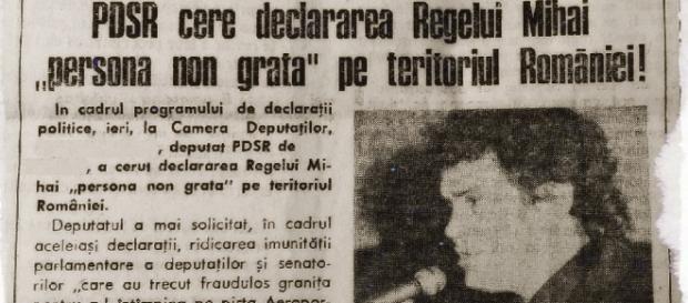 """PDSR cerea declararea Regelui Mihai """"persoana non grata"""""""