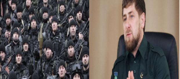 Ramzan Kadyrov com os seus soldados chechenos que lutaram na Síria