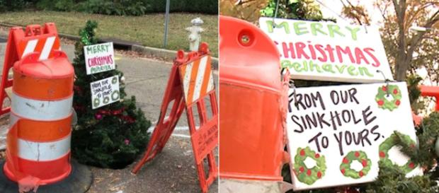 Christmas tree is in a pothole in Jackson, Mississippi. Image Credit: Blasting News