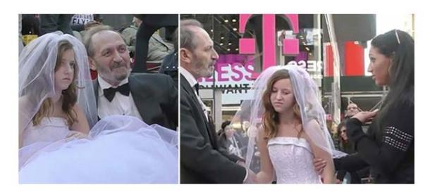 Homem se casando com menina de 12 anos de idade.