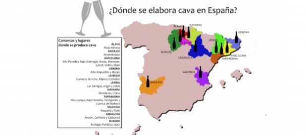 Mapa y cuadro con las zonas geográficas de producción del cava