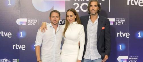 Foto de los miembros del jurado de OT 2017: (de izquierda a derecha) Manuel Martos, Mónica Naranjo y Joe Pérez-Oribe