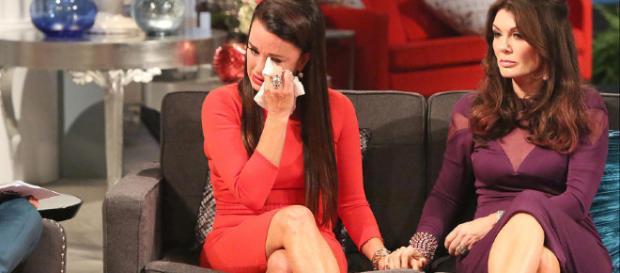 Kyle Richards and Lisa Vanderpump on 'RHOBH' reunion. [Photo via Bravo]
