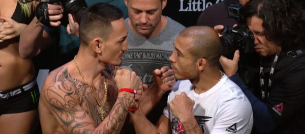 UFC featherweight champion Max Holloway (left) and challenger Jose Aldo (right) -- ESPN via YouTube