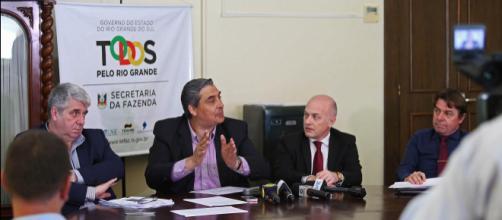 Entrevista coletiva do secretário da Fazenda, junto com o procurador-geral do Estado, relacionado ao parecer da STN. (crédito: Karine Viana)