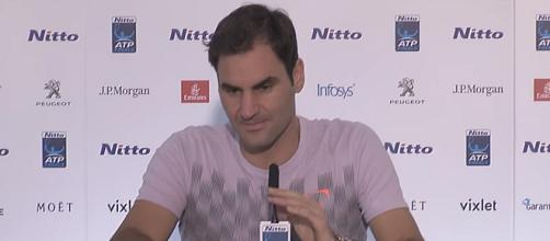 Roger Federer during a press conference in London/ Photo: screenshot via Tennis TV channel on YouTube