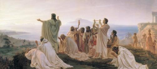 Grupo de pitagóricos celebrando la salida del sol. Himno al sol naciente, Fyodor Bronnikov (1827-1902; óleo)