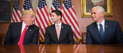 Trump, Ryan, and Pence wondering how to spend their new tax fortunes. - [Caleb Smith via Wikimedia Commons]