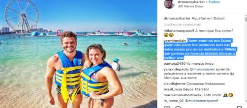 Marcos se diverte com fisiculturista (Reprodução/Instagram)
