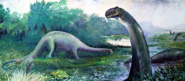 Swamp-bound 'Brontosaurus' 1897 Charles R. Knight - image via Wikimedia Commons