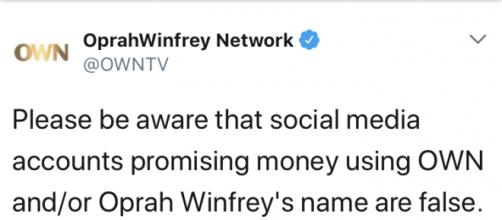 A Twitter status update via @OWNTV
