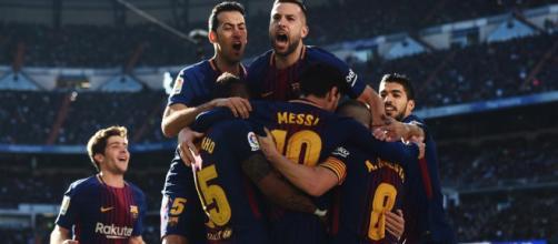 Celebración del Barça por el gol de Leo Messi enel clásico contra el Real Madrid
