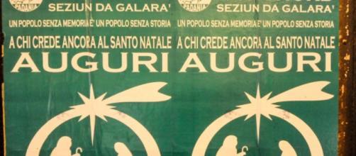 Manifesto di auguri della Lega comparso nelle strade di Gallarate
